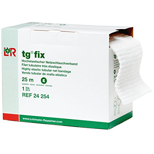 Lohmann&Rauscher 34971 tg Fix Net Tubular Bandage, Elastic Net Wound Dressing, Bandage Retainer for Large Trunks, Hips & Armpits, Size E (140cm Wide x 25m Long When Stretched)