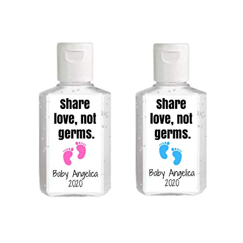 New Baby Favor Hand Sanitizer Label | Sheet of 20 Personalized Labels | Drive By Baby Shower Favor | Personalized Hand Sanitizer Sticker