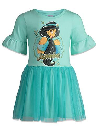Disney Princess Jasmine Girls Dress with Ruffle Sleeves & Tulle Skirt Blue (3T)