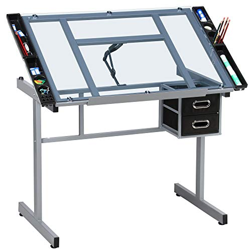 YAHEETECH Adjustable Glass Drafting Table Drawing Desk Diamond Art Desk Versatile Art Craft Station Study Table w/ 2 Slide Rolling Wheels and Drawers for Artist Painters Home Office