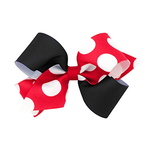 Wee Ones Girls' Medium Two-Tone Dot Print Hair Bow - Red and Black