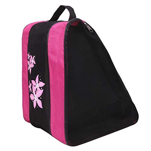 Moonsun08 Large Capacity Durable Ice Skates Roller Skating Carry Holder Storage Zipper Bag Pink