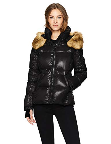 S13 Women's Kylie Down Puffer Jacket with Faux Fur Trimmed Hood, Jet, Medium