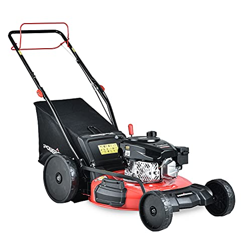 PowerSmart Lawn Mower, 22-inch & 170CC, Gas Powered Self-Propelled Lawn Mower with 4-Stroke Engine, 3-in-1 Gas Mower in Color Red/Black, 5 Adjustable Heights (1.18''-3.0'' ), DB2322SR