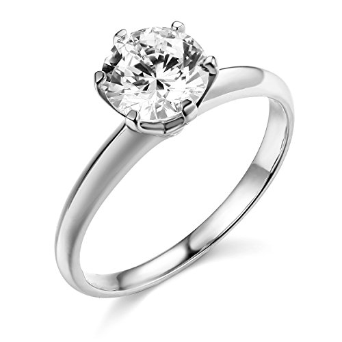 14k REAL White Gold SOLID Wedding Engagement Ring - Size 6