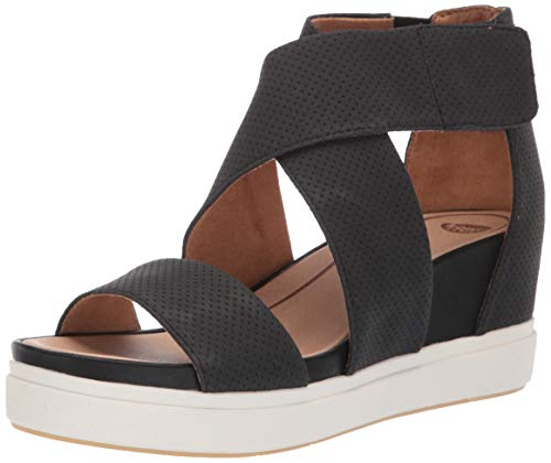 Dr. Scholl's Women's Sheena Wedge Sandal, Black Smooth Perforated, 7.5 M US