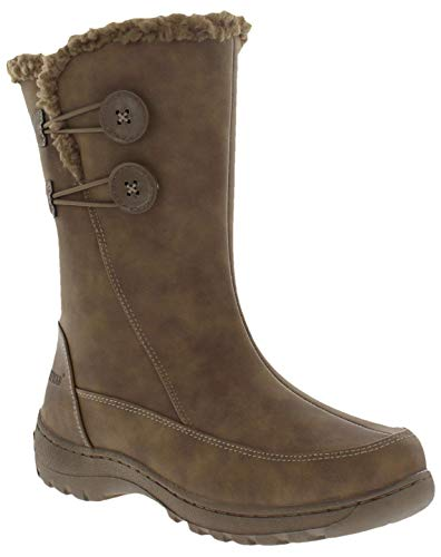 Weatherproof Womens Cold Weather Boots with Side Zipper & Dual Button Closure Miranda Waterproof Insulated Winter Boots - Keeps Feet Warm & Dry - Available in Medium and Wide Width
