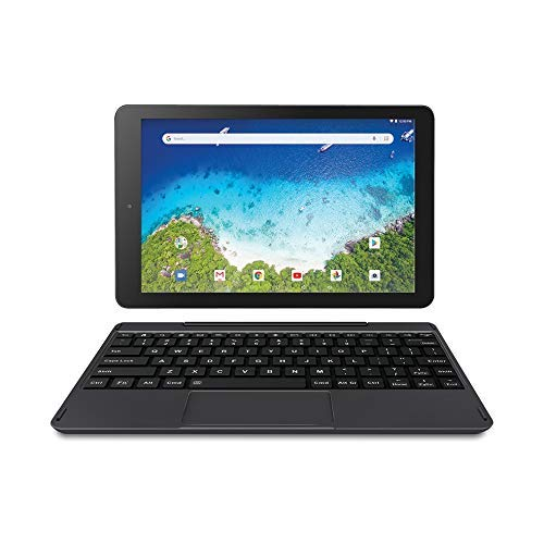 Newest High Performance RCA Viking Pro 10.1 inches 2-in-1 Touchscreen Laptop Computer Tablet Quad-Core 1G Memory 32GB Hard Drive Detachable-Keyboard Android 8.1 (Charcoal) (Renewed)