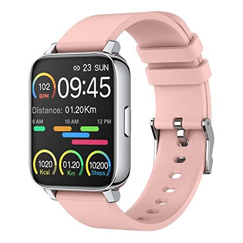 Smart Watch for Women 1.69' Touch Screen Fitness Tracker Watch IP67 Waterproof Smartwatch with Heart Rate and Sleep Monitor, Step Counter Sport Running Watch for Android and iOS(Pink)