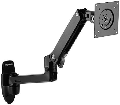 Amazon Basics Premium Wall Mount Computer Monitor and TV Stand - Lift Engine Arm Mount, Aluminum - Black