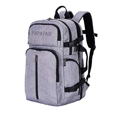 PAPAZAU 40L Travel Backpack Flight Approved Carry on Backpack Weekender Bag for Women Men (Grey)