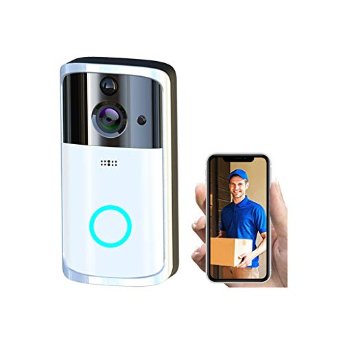 Smart Wireless WiFi Video Doorbell HD Security Camera with PIR Motion Detection Night Vision Two-Way Talk and Real-time Video (Silver)