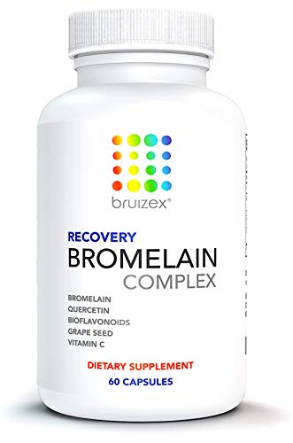 BRUIZEX Anti-Bruising Supplement, Non-GMO Bromelain & Quercetin Complex: Swelling & Pain Relief, Full Body Anti-Inflammatory Treatment, Great for Recovery After Plastic Surgery & Injuries-60 Capsules