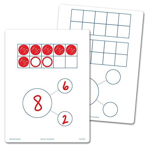 EAI Education Ten Frames & Number Bonds Flexible Dry-Erase Boards - Set of 10