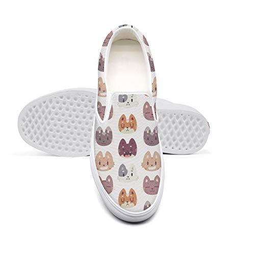 Women's Lazy Canvas Slip-On Shoes Cartoon cat face Cute CyclingSneaker Shoes