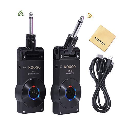 Koogo Guitar Wireless System with Rechargeable 2.4GHz Digital Guitar Transmitter and Receiver for Electric Guitar, Bass, Violin …
