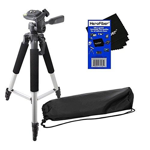 HeroFiber 57' Pro Series Lightweight Photo/Video Tripod & Carrying Case for Canon EOS Rebel XS, XSi, XT, XTi (350D, 400D, 450D & 1000D) Digital SLR Cameras w Ultra Gentle Cleaning Cloth
