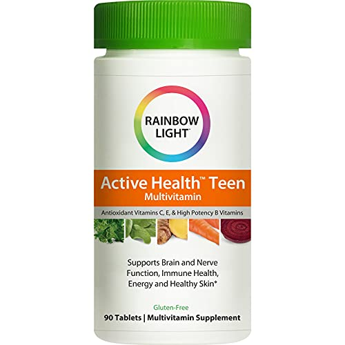 Rainbow Light Active Health Teen Multivitamin Supports with Vitamins B, C and E, 90 Tablets (Package May Vary)