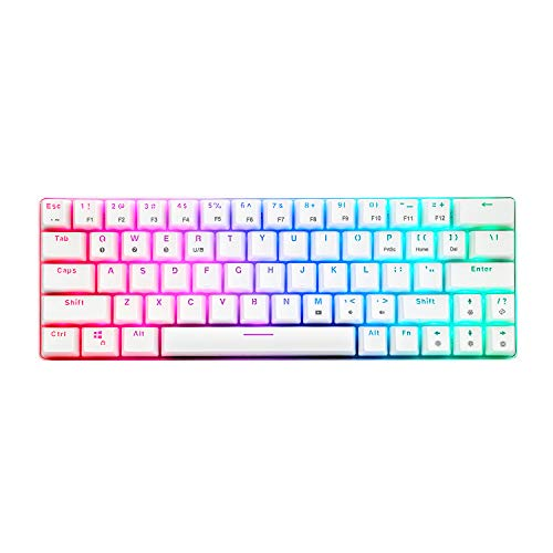 CQ63 Wireless Mechanical Gaming Keyboard, True RGB Backlit, Bluetooth 5.0, Brown Switches, 63 Keys, Wired 60% Keyboard for iPad, iMac Android/Windows Tablet Laptop Desktop