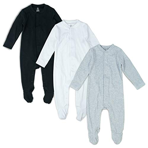 OPAWO Solid Color Unisex Baby Footed Sleeper Pajamas with Mitten Cuffs 3-Pack 0-18 Months (Black/White/Gray, 3-6 Months)