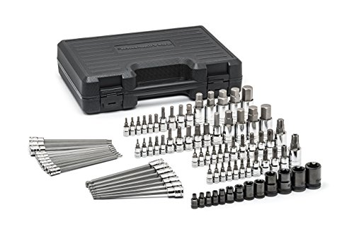 GEARWRENCH 84 Pc. 1/4', 3/8' & 1/2' Drive Bit Socket Set, Hex/Ball End Hex/Tamper Proof Torx/E-Torx/Torx, SAE/Metric - 80742