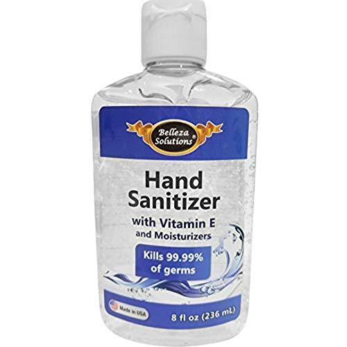 Belleza Solutions Hand Sanitizer Gel with 70% V/V Alcohol Based, Vitamin E & Moisturizers, 8 OZ (236 ml)