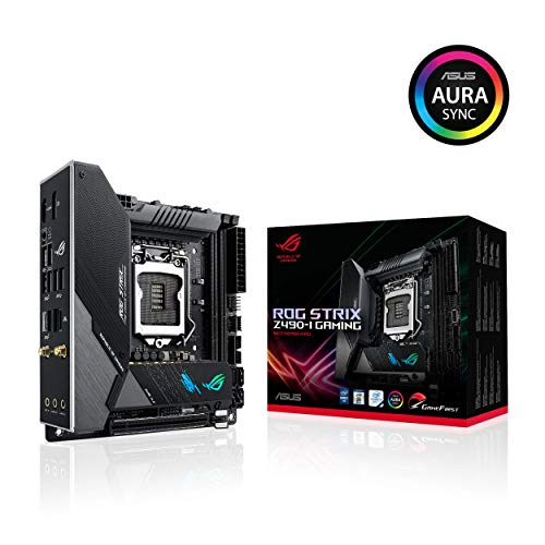 ASUS ROG Strix Z490-I Gaming Z490 (WiFi 6) LGA 1200 (Intel 10th Gen) Mini-ITX Gaming Motherboard 8+2 Power Stages, DDR4 4800, Intel 2.5 Gb Ethernet, USB 3.2 Front Panel Type-C, HDMI 2.0a, Aura Sync