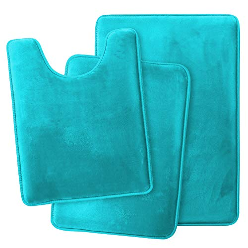 Clara Clark Memory Foam Bath Mat Ultra Soft Non Slip and Absorbent Bathroom Rug, Set of 3 - Small/Large/Contour, Teal, 3 Count