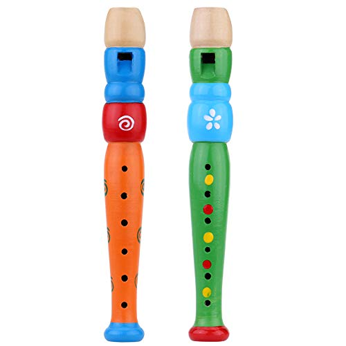 Tovip 2PCS Wooden Kid Flute Musical Instrument Early Education Develop Recorder Woodwind Musical Educational Toy for Children (Random Color)