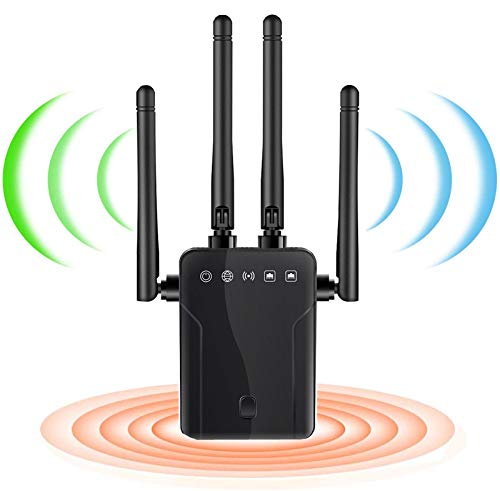 WiFi Range Extender 1200Mbps WiFi Booster, 360° Full Coverage 2.4G & 5GHz Dual Band Wireless Amplifier Four High Transmission Antennas, One Button Setup with Ethernet Port (Black)