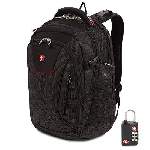 SWISSGEAR 5358 Ultimate Protection USB TSA Friendly ScanSmart Laptop Backpack and Cable Lock Bundle - Black/Red