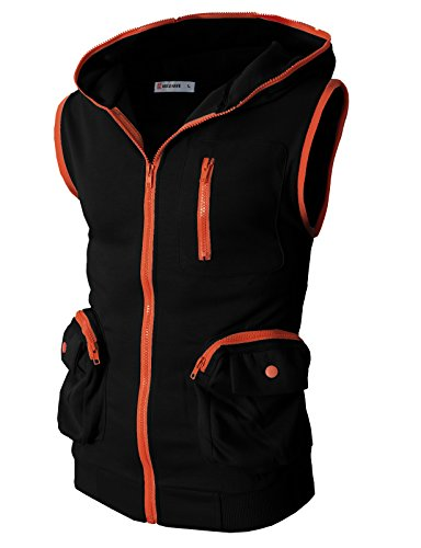 H2H Mens Daily Wear Fashion Active Slim fit Sleeveless Hoodie Zip with Pockets Black US XL/Asia XXL (CMOHOSL01)