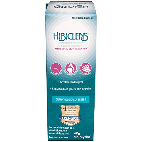 Molnlycke Hibiclens Antimicrobial/Antiseptic Skin Cleanser, 4 Fluid Ounce Bottle, for Antimicrobial Skin Cleansing