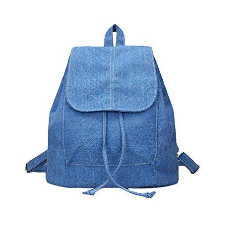Vintage Denim Mini Backpack Jeans String Bag Shoulder Bag Rucksack Blue