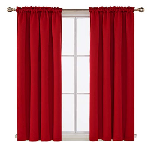 Deconovo Red Blackout Curtains Rod Pocket Drapes Window Curtains for Bedroom True Red 42W x 63L Inch Set of 2