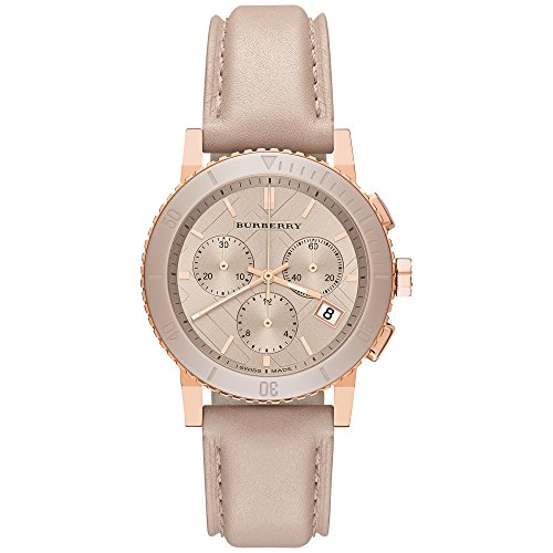Burberry The City Swiss Luxury Ceramic Women 38mm Round Rose Gold Chronograph Watch Nude Leather Band Nude Sunray Date Dial BU9704