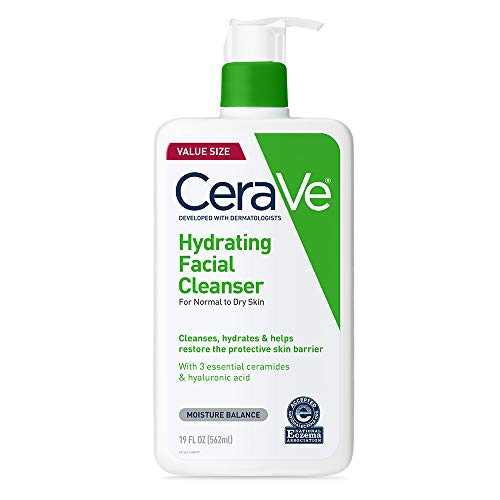 CeraVe Hydrating Facial Cleanser   Moisturizing Non-Foaming Face Wash with Hyaluronic Acid, Ceramides & Glycerin   19 Fluid Ounce