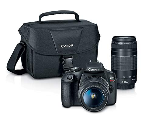 Canon EOS REBEL T7 DSLR Camera|2 Lens Kit with EF18-55mm + EF 75-300mm lens, Black