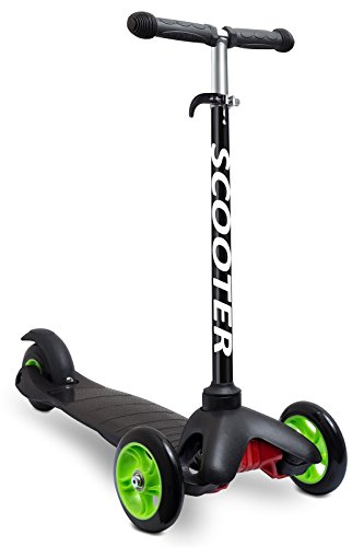 Scooters for Kids Toddler Scooter - Deluxe Aluminum 3 Wheel Glider w/ Kick n Go, Lean 2 Turn Wheels, Step 4 Brake, Toddlers Training Three Wheeled Kid Ride on Toys Best for Little Boys & Girls - Black