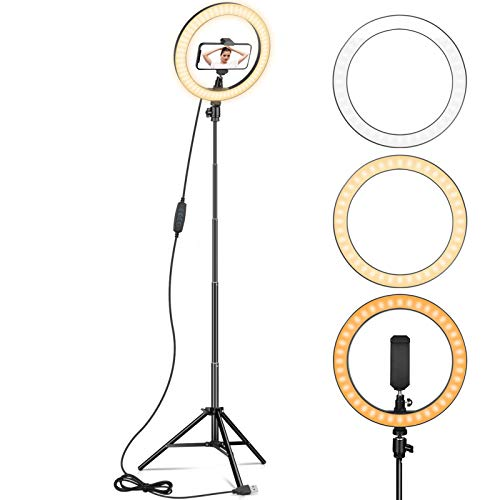 Ring Light 10' with 67' Tripod Stand & Phone Holder for YouTube Video, Desktop Camera Led Ring Light for Streaming, Makeup, Selfie Photography Compatible with iPhone Android