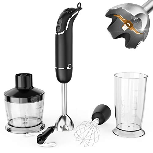 KOIOS oxasmart 800-Watt/ 12-Speed Immersion Hand Blender(Titanium Reinforced), Turbo for Finer Results, 4-in-1 Set Includes BPA-Free Food Chopper / Egg Beater / Beaker, Ergonomic Grip, Detachable