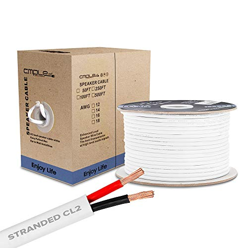 Cmple - 50FT 18AWG Speaker Wire Cable with 2 Conductor Speaker Cable (CCA) Copper Clad Aluminum CL2 Rated In-Wall Speaker Wire for Home Theater & Car Audio - 50 Feet, White
