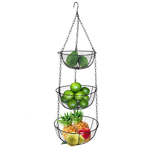 TIMESETL 3-Tier Hanging Fruit Baskets, Heavy Duty Vegetable Storage Wire Baskets for Kitchen, Living Room, Meeting Room, Lobby - 33 Inch