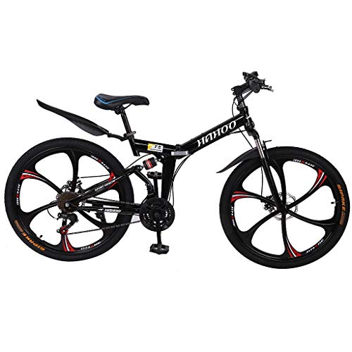 Mountain Bike for Youth and Adult, 26in Carbon Steel Mountain Bike, 21 Speed Fashion Student Bicycle Full Suspension MTB, Lightweight and More Durable (Black)