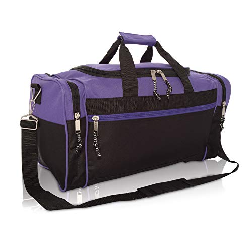 DALIX 19' Blank Sports Duffle Bag Gym Bag Travel Duffel with Adjustable Strap in Purple