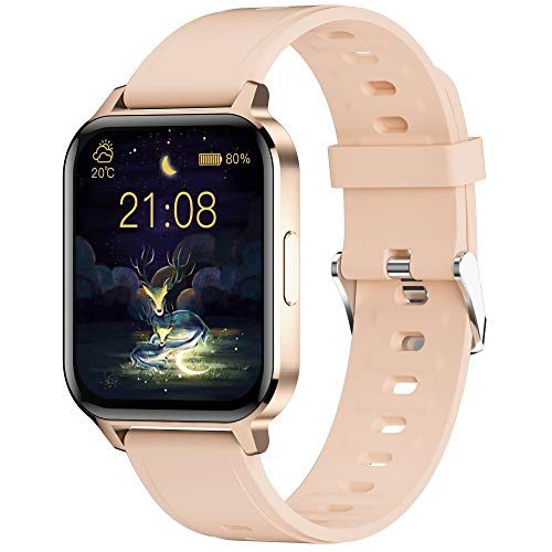 Smart Watch for Android Phones, 1.7 inch Fit Watch with Heart Rate and Sleep Monitor, Activity Tracker with IP68 Waterproof Step Counter Pedometer Smartwatch for Women and Men (Pink)