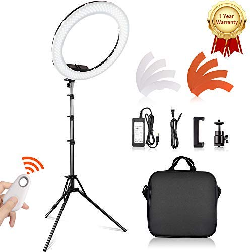 Travor 18' LED Ring Light with Light Stand and Phone Holder Kit, Dimmable 3200K/5500K Selfie Light Ring with Filter, Remote, Carrying Bag for Camera, Smartphone, YouTube, Makeup, TikTok Video Shooting