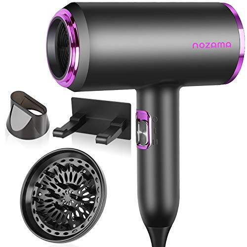 Ionic Hair Dryer, Nozama 1800W Professional Hair Blow Dryers with 3 Heat Settings, 2 Speed, 3 Cool Settings,2 Concentrator Nozzles, Fast Drying Blow Dryer for Home, Travel, Salon and Hotel