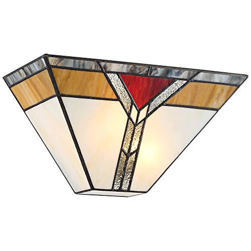 Darley Tiffany Style Wall Light Sconce Bronze Hardwired 6 1/2' High Fixture Art Deco Stained Glass for Bedroom Bathroom Hallway - Regency Hill