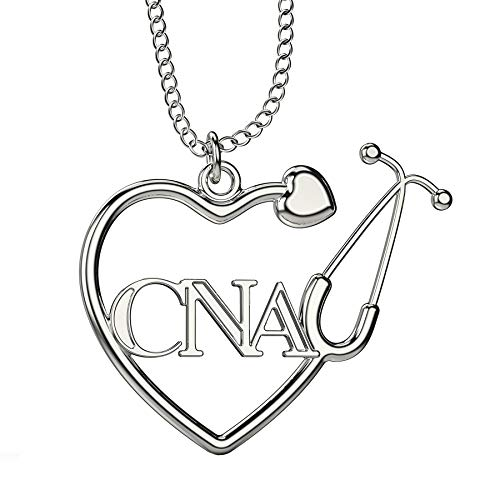 Caring Hands Gifts CNA Certified Nurse Assistant Stethoscope Heart Necklace, CNA Gift, CNA Pendant (Silver)